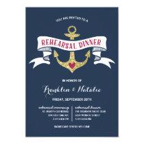 Anchor Glitter-Look Nautical Rehearsal Dinner Invitation