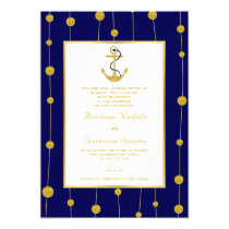 Anchor, gold beads navy blue nautical wedding invitation