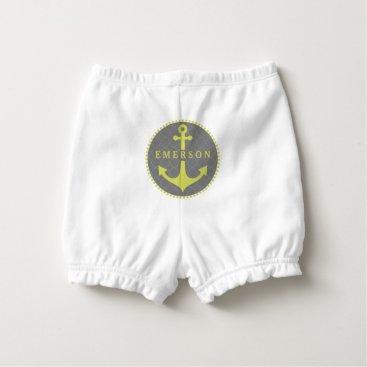 Beach Themed Anchor   Gray Quatrefoil Diaper Cover