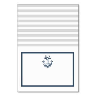 Anchor Grey and Navy Blue Nautical Seating Card