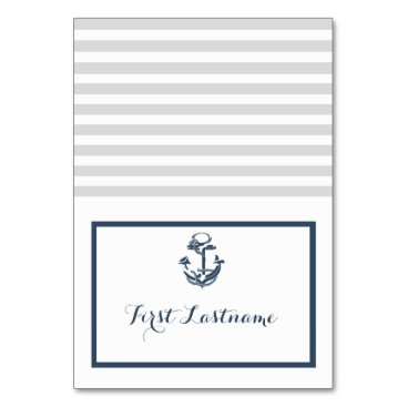 Beach Themed Anchor Grey and Navy Blue Nautical Seating Card