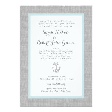 Beach Themed Anchor Grey Burlap Beach Wedding Card