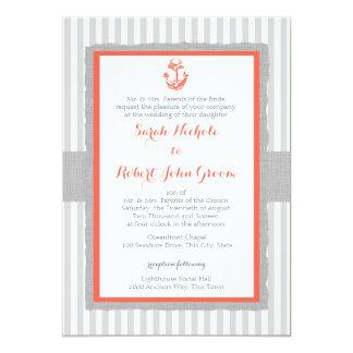Anchor Grey Stripes Coral Wedding Card