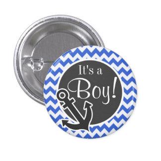 Anchor; Han Blue Chevron Stripes Pinback Button
