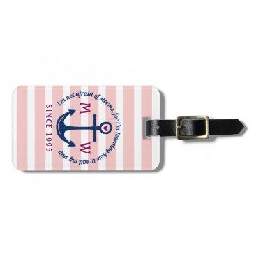 Anchor Heart Pink Stripes Nautical Monogram Logo Bag Tag