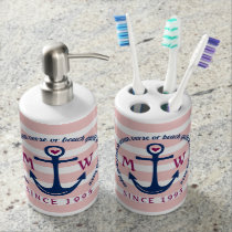 Anchor Heart Pink Stripes Nautical Monogram Logo Bath Set