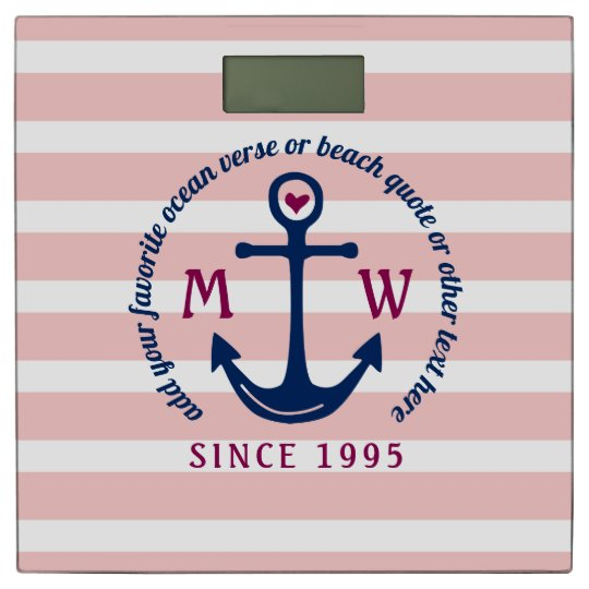 Anchor Heart Pink Stripes Nautical Monogram Logo Bathroom Scale