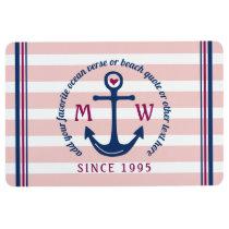 Anchor Heart Pink Stripes Nautical Monogram Logo Floor Mat