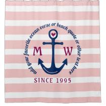 Anchor Heart Pink Stripes Nautical Monogram Logo Shower Curtain