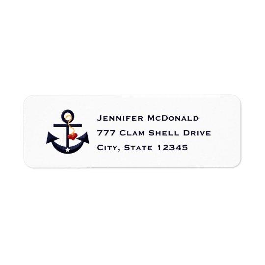 Anchor Heart Return Address Labels Custom