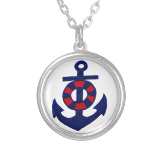 Anchor in Red White and Blue Necklace