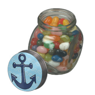 Anchor in the Waves Glass Candy Jars