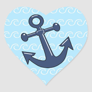 Anchor in the Waves Heart Sticker