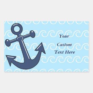Anchor in the Waves Rectangular Sticker