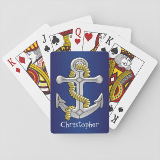 Anchor Just Add Name Navy Blue Playing Cards