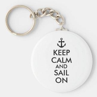 Anchor Keep Calm and Sail On Nautical Custom Basic Round Button Keychain