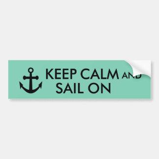 Anchor Keep Calm and Sail On Nautical Custom Bumper Sticker
