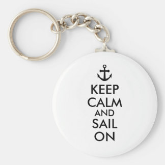 Anchor Keep Calm and Sail On Nautical Custom Keychain