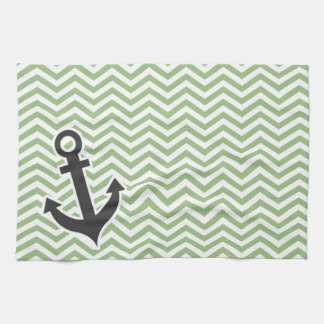 Anchor; Laurel Green Chevron Stripes Hand Towel