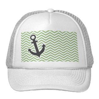 Anchor; Laurel Green Chevron Stripes Trucker Hat