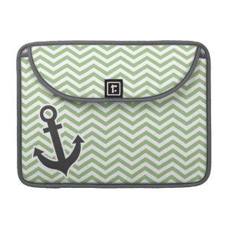 Anchor; Laurel Green Chevron Stripes Sleeve For MacBook Pro