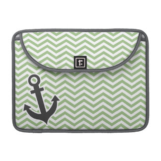 Anchor; Laurel Green Chevron Stripes Sleeve For MacBooks