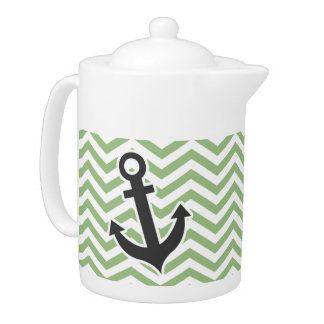 Anchor; Laurel Green Chevron Stripes Teapot