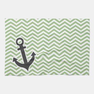 Anchor; Laurel Green Chevron Stripes Towel