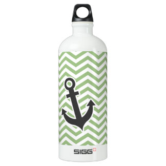 Anchor; Laurel Green Chevron Stripes Water Bottle