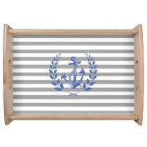 Anchor, Laurel Wreath, Nautical Serving Tray