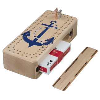 Anchor & Line Navy Wood Cribbage Board