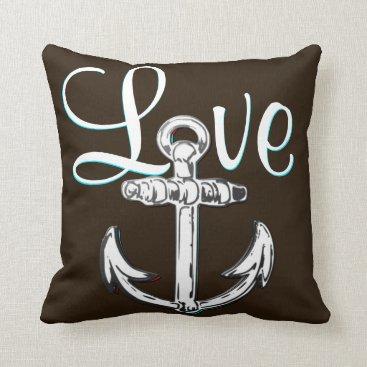 Beach Themed Anchor Love  nautical  beach cottage decor pillow