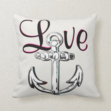 Beach Themed Anchor Love nautical  beach cottage decor pillow