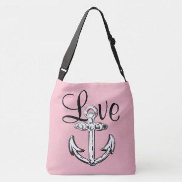 Beach Themed Anchor Love  nautical beach  shoulder bag pink