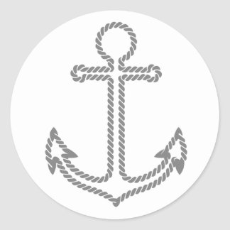 Anchor made of Rope Classic Round Sticker
