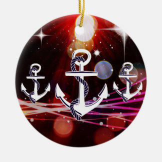 Anchor Me to the Stars Nautical Abstract Design Ceramic Ornament
