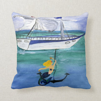 Anchor Mermaid Nautical throw pillow from art