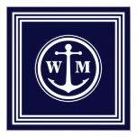Anchor Monogram 5.25x5.25 Square Paper Invitation
