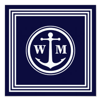 Anchor Monogram 5.25x5.25 Square Paper Invitation