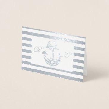 Beach Themed Anchor Monogram Nautical Thank You Foil Card