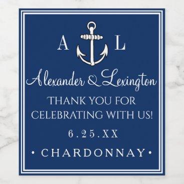Beach Themed Anchor Monogram Nautical Wedding Guest Favor Wine Label