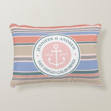 Beach Themed Anchor Monogram Trendy Stripes Pink Nautical Beach Accent Pillow