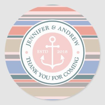 Beach Themed Anchor Monogram Trendy Stripes Pink Nautical Beach Classic Round Sticker