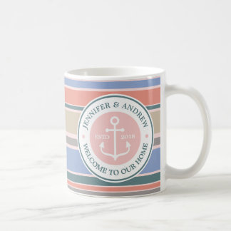 Anchor Monogram Trendy Stripes Pink Nautical Beach Coffee Mug