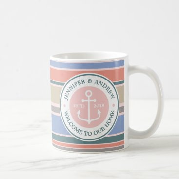 Beach Themed Anchor Monogram Trendy Stripes Pink Nautical Beach Coffee Mug