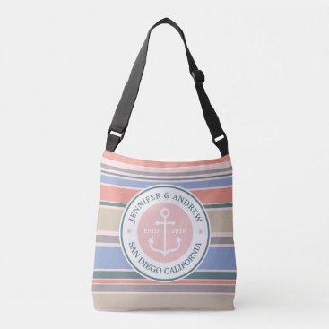 Beach Themed Anchor Monogram Trendy Stripes Pink Nautical Beach Crossbody Bag