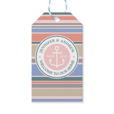 Beach Themed Anchor Monogram Trendy Stripes Pink Nautical Beach Gift Tags