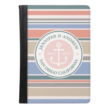 Beach Themed Anchor Monogram Trendy Stripes Pink Nautical Beach iPad Air Case