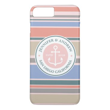 Beach Themed Anchor Monogram Trendy Stripes Pink Nautical Beach iPhone 7 Plus Case