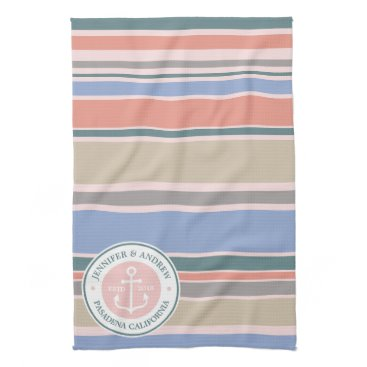 Beach Themed Anchor Monogram Trendy Stripes Pink Nautical Beach Kitchen Towel